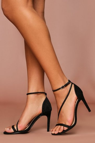 Black Glitter Metallic Strappy Heel