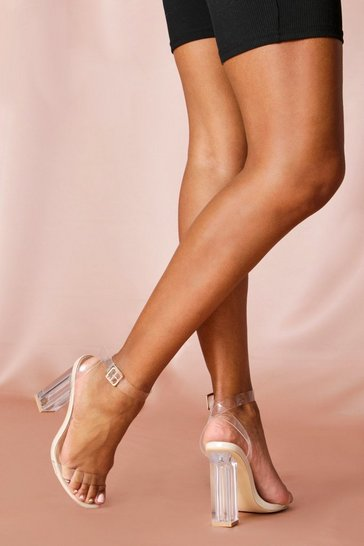 Nude Clear block heeled sandals
