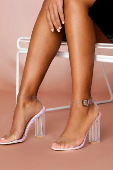 Womens Silver Clear Block Heel