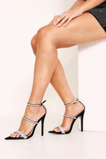 Womens Black Diomante Strap Pointy Toe Heel