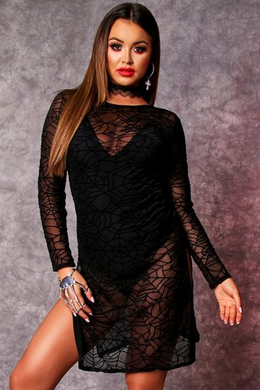 Womens Black Long Sleeve Cobweb Thigh Split Dress