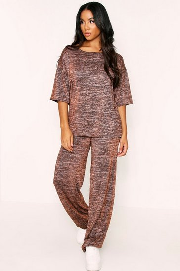 Womens Bronze Glitter Knit Wide Leg Lounge Set