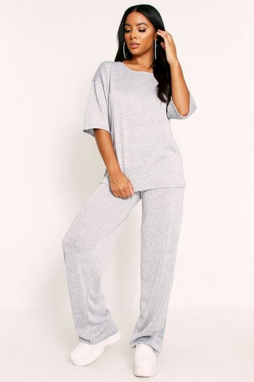 Grey Wide Leg Glitter Lounge Suit
