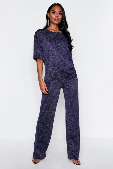 Womens Navy Glitter Knit Wide Leg Lounge Set