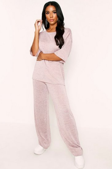 Womens Pink Glitter Knit Wide Leg Lounge Set