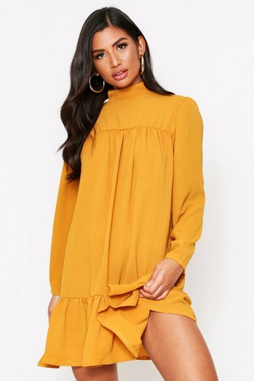 Tan High Neck Smock Bubble Crepe Dress