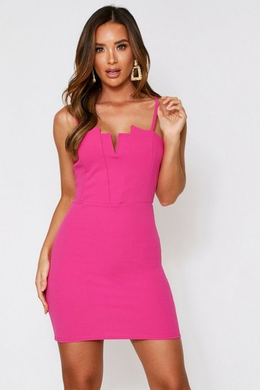 Womens Fushia Bandeau V Front Mini Dress