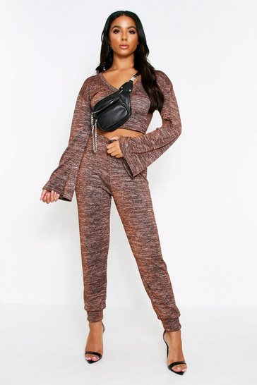 Bronze Bell Sleeve Crop Lounge Litter Melange Set