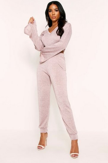 Womens Pink Bell Sleeve Crop Lounge Litter Melange Set
