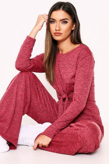 Womens Pink Knot Front Lounge Set