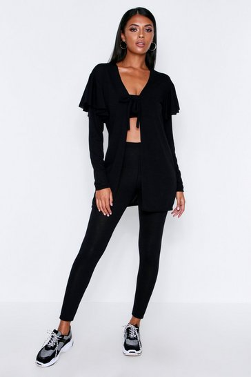 Black Frill Sleeve Cardigan Lounge Set