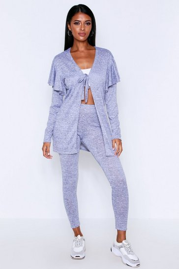 Womens Grey Frill Sleeve Cardigan Lounge Set