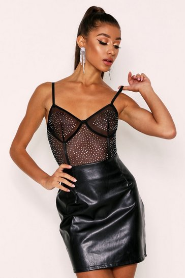Womens Black Diamante Detail Mesh Bodysuit