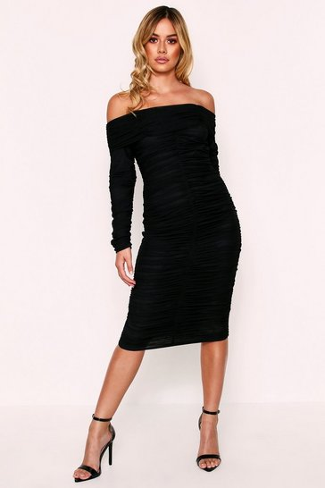 Womens Black Off The Shoulder Ruched Midi Bodycon Dress