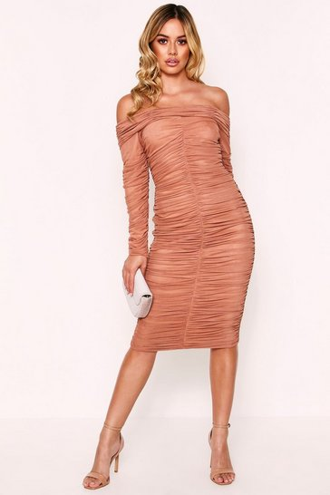Camel Off The Shoulder Ruched Midi Bodycon Dress