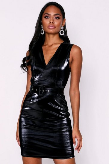 Black PU Belted Bodycon Dress