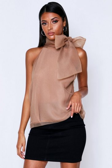 Taupe Extreme PussyBow Organza Top