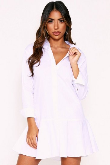 White Frill Hem Shirt Dress