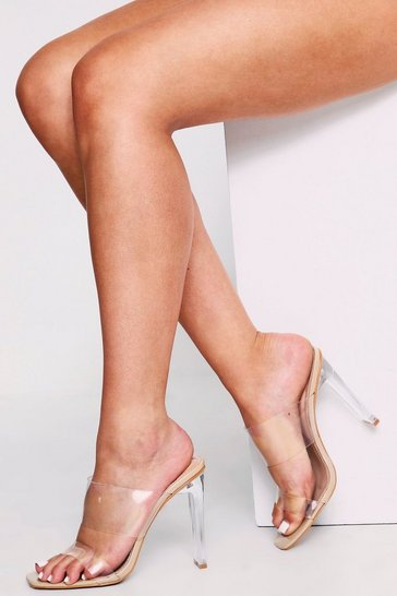 Womens Nude Clear Block Heel