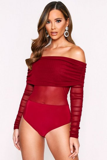 Womens Berry Ruched Mesh Bardot Bodysuit