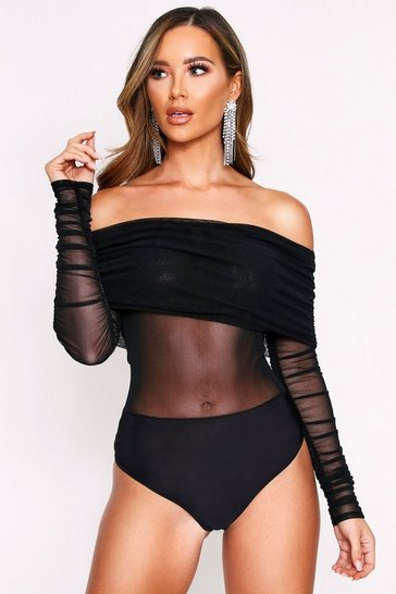 Black Ruched Mesh Strappy Bodysuit