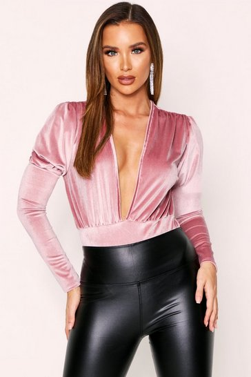 Blush Velvet Plunge Volume Sleeve Bodysuit