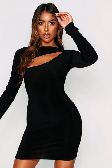 Womens Black Slinky Cut Out Long Sleeve Mini Dress