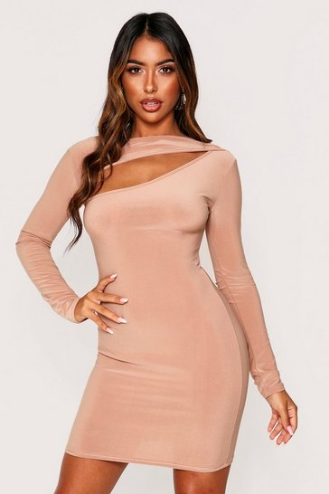 Camel Slinky Cut Out Long Sleeve Mini Dress