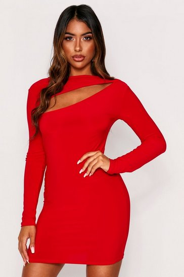 Red Slinky Cut Out Long Sleeve Mini Dress