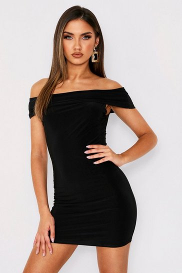 Womens Black Slinky Bardot Mini Dress
