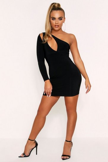 Black Cut Out One Shoulder Slinky Mini Dress