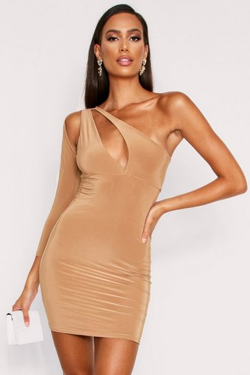 Camel Cut Out One Shoulder Slinky Mini Dress