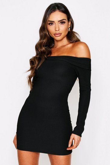Womens Black Bardot Long Sleeve Mini Dress