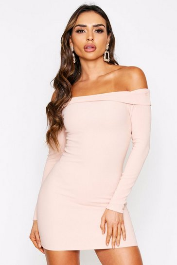 Taupe Bardot Long Sleeve Mini Dress