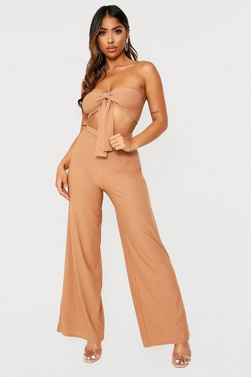 Womens Camel Tie Front Bralet And Wide Leg Trouser Co-ord