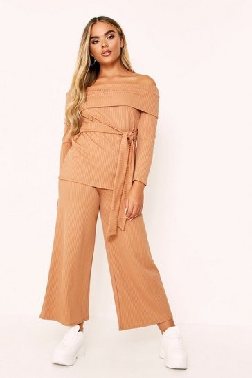 Womens Camel Rib Bardot Top And Ankle Grazer Co-ord