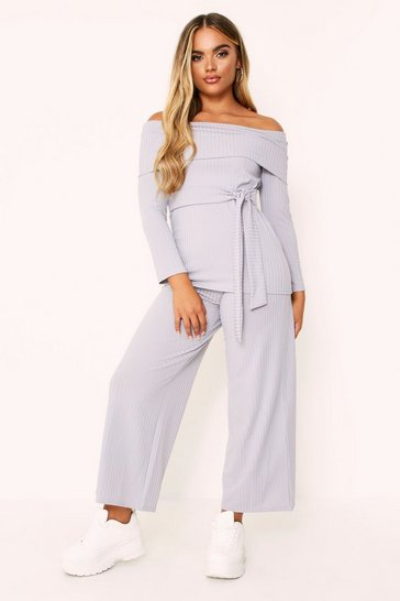 Grey Rib Bardot Top And Ankle Grazer Co-ord