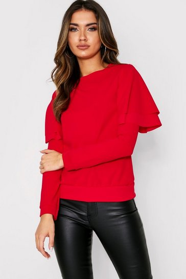 Womens Red Ruffle Long Sleeve Sweat