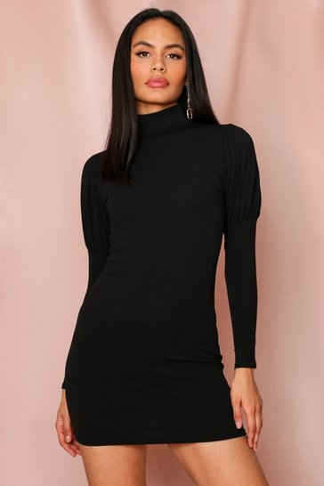 Black Puff Sleeve Bodycon Mini Dress