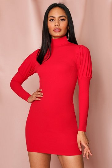 Red Puff Sleeve Bodycon Mini Dress