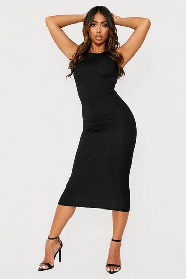 Black Rib Sleeveless Midi Dress