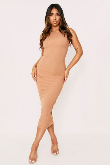 Womens Camel Rib Mini Dress