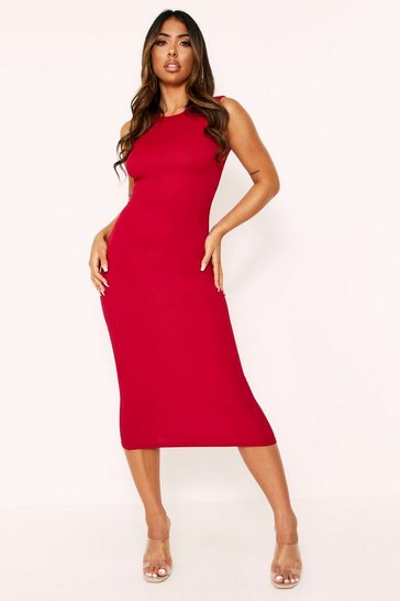 Dark red Rib Sleeveless Midi Dress