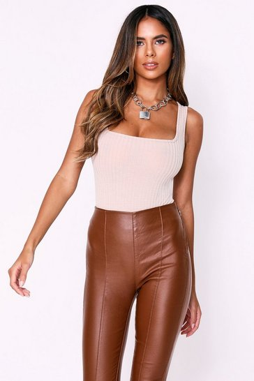 Womens Stone Square Neck Rib Bodysuit