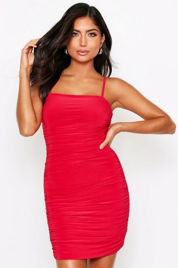 Womens Red Slinky Strappy Ruched Mini Dress