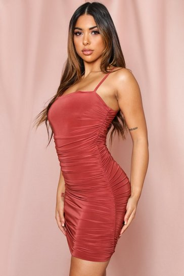 Rust Slinky Strappy Ruched Mini Dress
