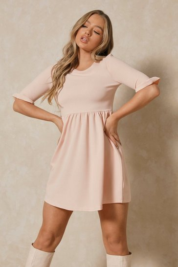 Blush Ruffle Sleeve Smock Dress