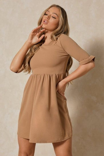 Camel Ruffle Sleeve Smock Dress