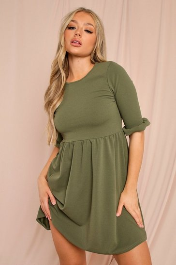 Khaki Ruffle Sleeve Smock Dress