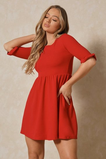 Red Ruffle Sleeve Smock Dress